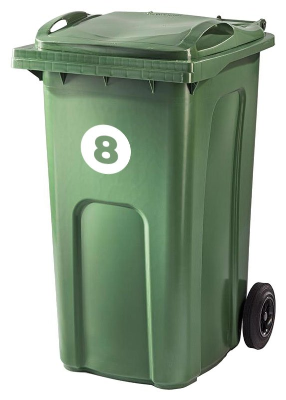 Bin stickers - Circle option - vinyl numbers for your wheelie bins