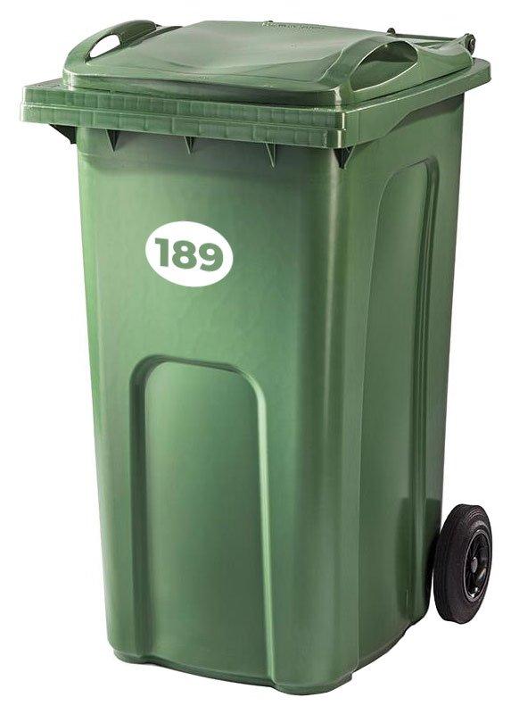 Bin stickers - Oval option - vinyl numbers for your wheelie bins